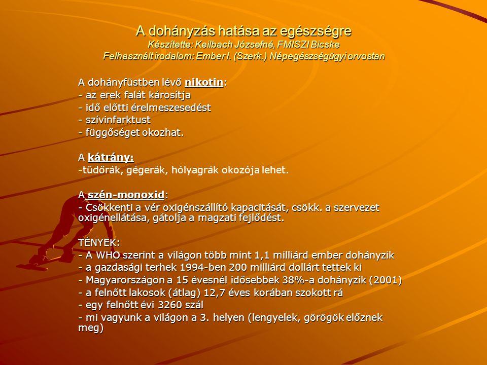 A dohányzás hatása az egészségre Készítette: Keilbach Józsefné, FMISZI Bicske Felhasznált irodalom: Ember I.