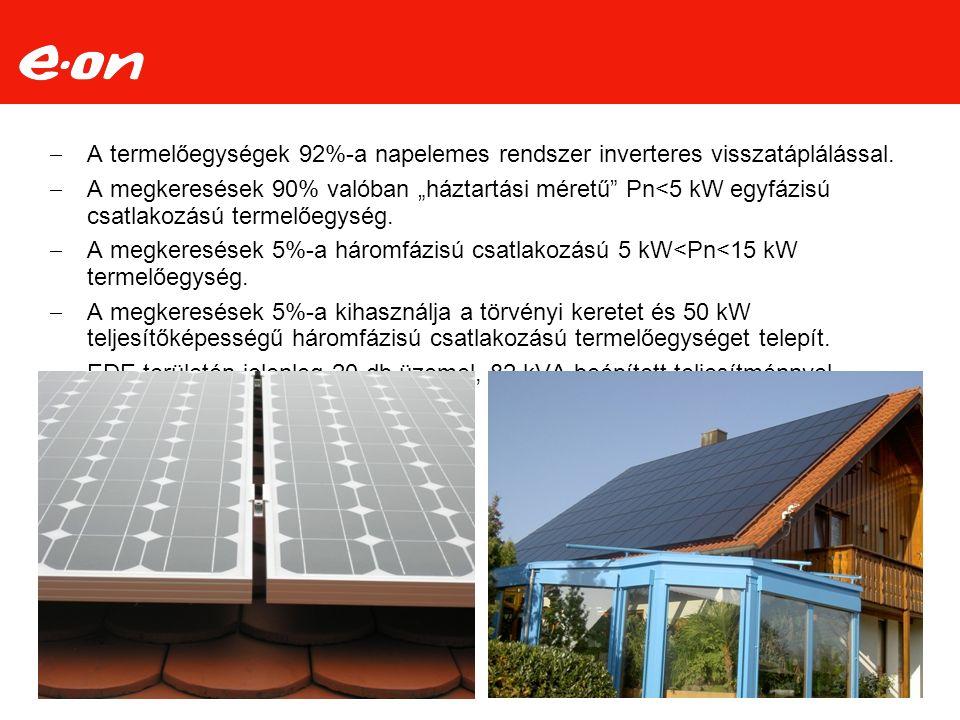  A termelőegységek 92%-a napelemes rendszer inverteres visszatáplálással.
