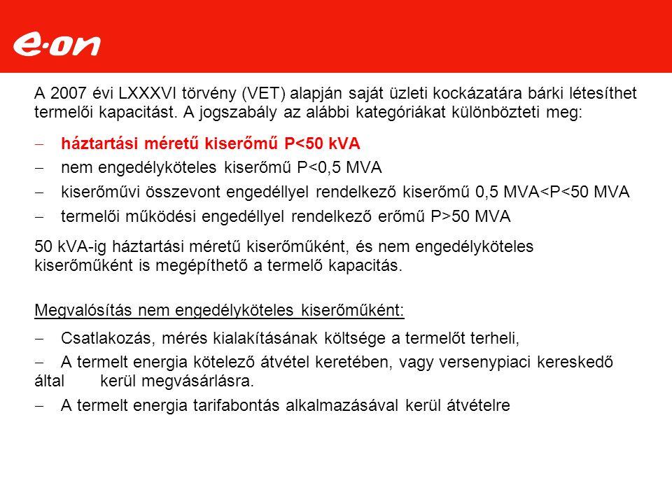 A 2007 évi LXXXVI törvény (VET) alapján saját üzleti kockázatára bárki létesíthet termelői kapacitást.
