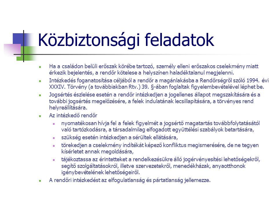 Közbiztonsági feladatok Ha a családon belüli erőszak körébe tartozó, személy elleni erőszakos cselekmény miatt érkezik bejelentés, a rendőr kötelese a helyszínen haladéktalanul megjelenni.