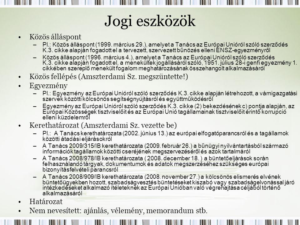 Jogi eszközök Közös álláspont –Pl.: Közös álláspont (1999.