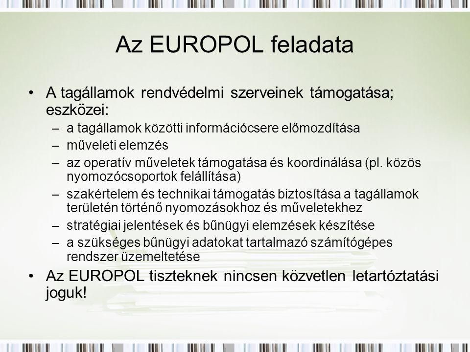 Az EUROPOL feladata A tagállamok rendvédelmi szerveinek támogatása; eszközei: –a tagállamok közötti információcsere előmozdítása –műveleti elemzés –az operatív műveletek támogatása és koordinálása (pl.