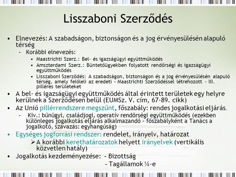 Lisszaboni Szerződés Elnevezés: A szabadságon, biztonságon és a jog érvényesülésén alapuló térség –Korábbi elnevezés: Maastrichti Szerz.: Bel- és igazságügyi együttműködés Amszterdami Szerz.: Büntetőügyekben folyatott rendőrségi és igazságügyi együttműködés Lisszaboni Szerződés: A szabadságon, biztonságon és a jog érvényesülésén alapuló térség, amely felöleli az eredeti – Maastrichti Szerződéssel létrehozott - III.