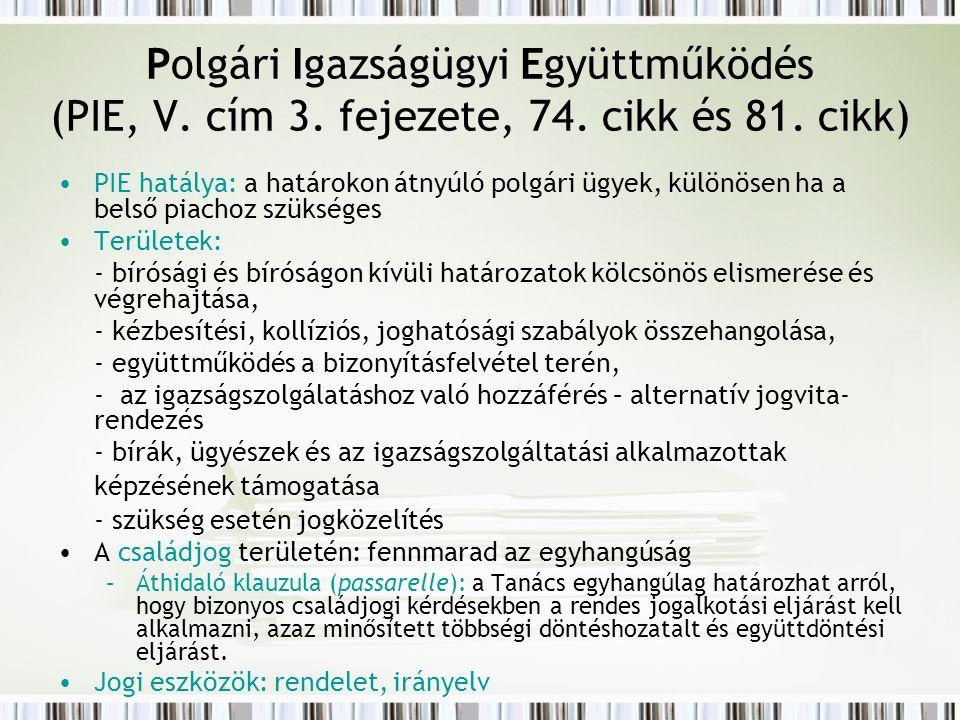 Polgári Igazságügyi Együttműködés (PIE, V. cím 3.