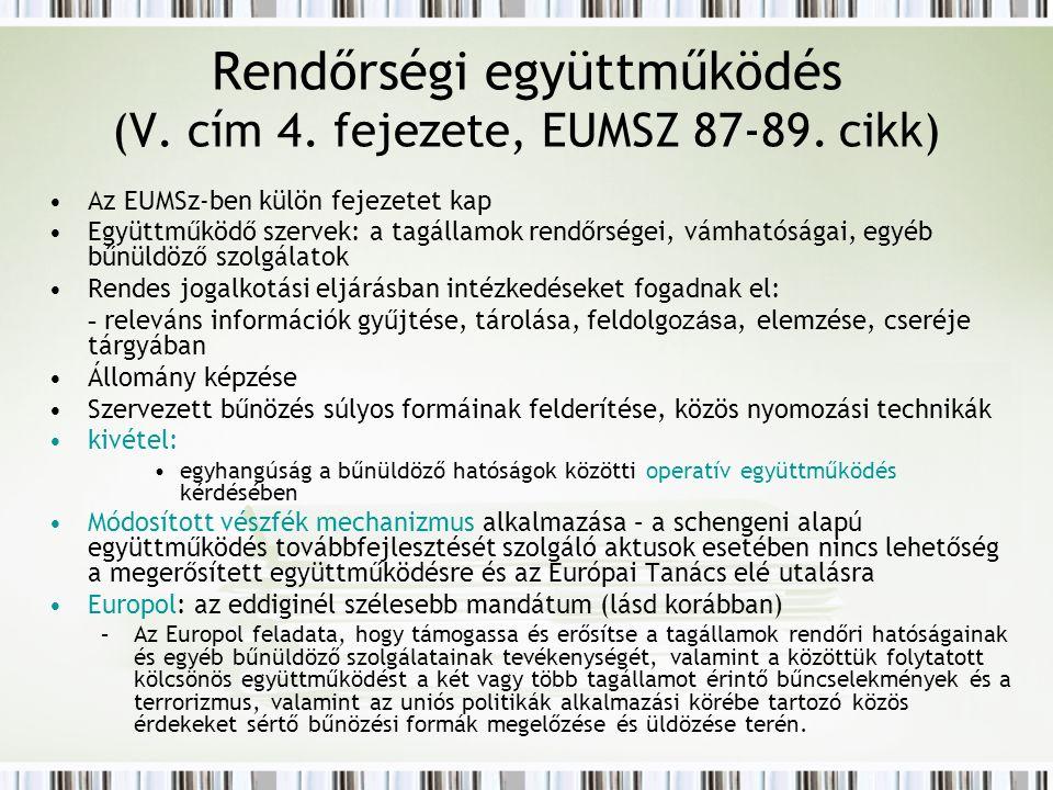 Rendőrségi együttműködés (V. cím 4. fejezete, EUMSZ 87-89.