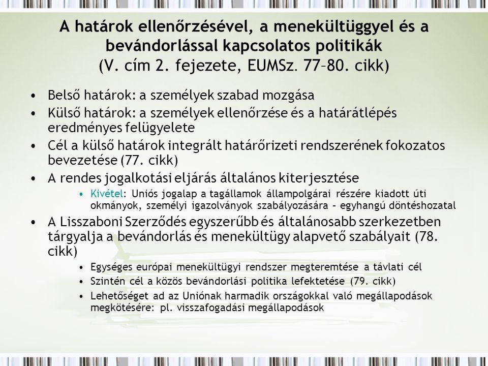 A határok ellenőrzésével, a menekültüggyel és a bevándorlással kapcsolatos politikák (V.