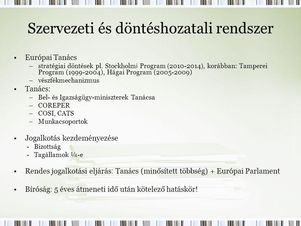 Szervezeti és döntéshozatali rendszer Európai Tanács –stratégiai döntések pl.