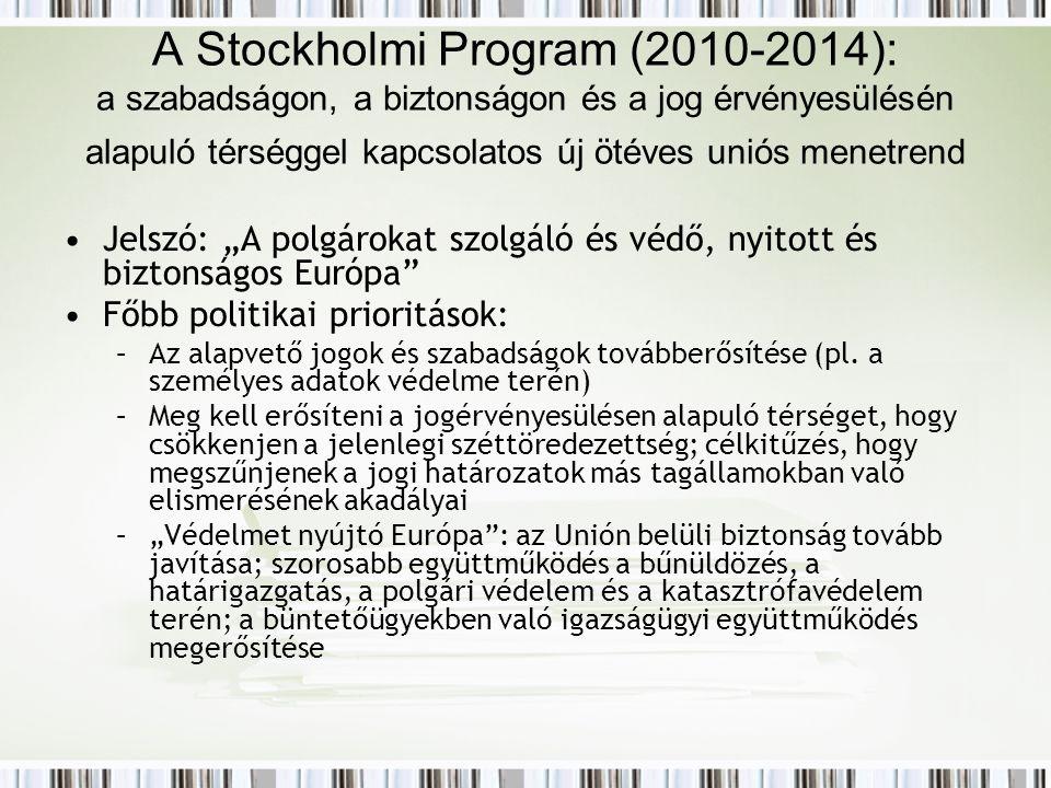 """A Stockholmi Program (2010-2014): a szabadságon, a biztonságon és a jog érvényesülésén alapuló térséggel kapcsolatos új ötéves uniós menetrend Jelszó: """"A polgárokat szolgáló és védő, nyitott és biztonságos Európa Főbb politikai prioritások: –Az alapvető jogok és szabadságok továbberősítése (pl."""