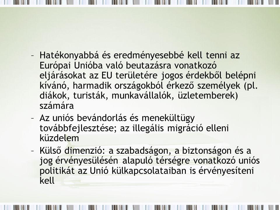 –Hatékonyabbá és eredményesebbé kell tenni az Európai Unióba való beutazásra vonatkozó eljárásokat az EU területére jogos érdekből belépni kívánó, harmadik országokból érkező személyek (pl.