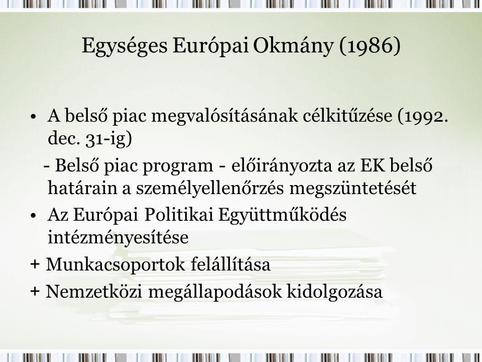 Egységes Európai Okmány (1986) A belső piac megvalósításának célkitűzése (1992.