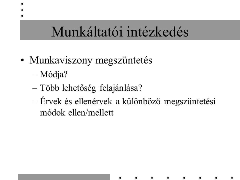 Munkáltatói intézkedés Munkaviszony megszüntetés –Módja? –Több lehetőség felajánlása? –Érvek és ellenérvek a különböző megszüntetési módok ellen/melle