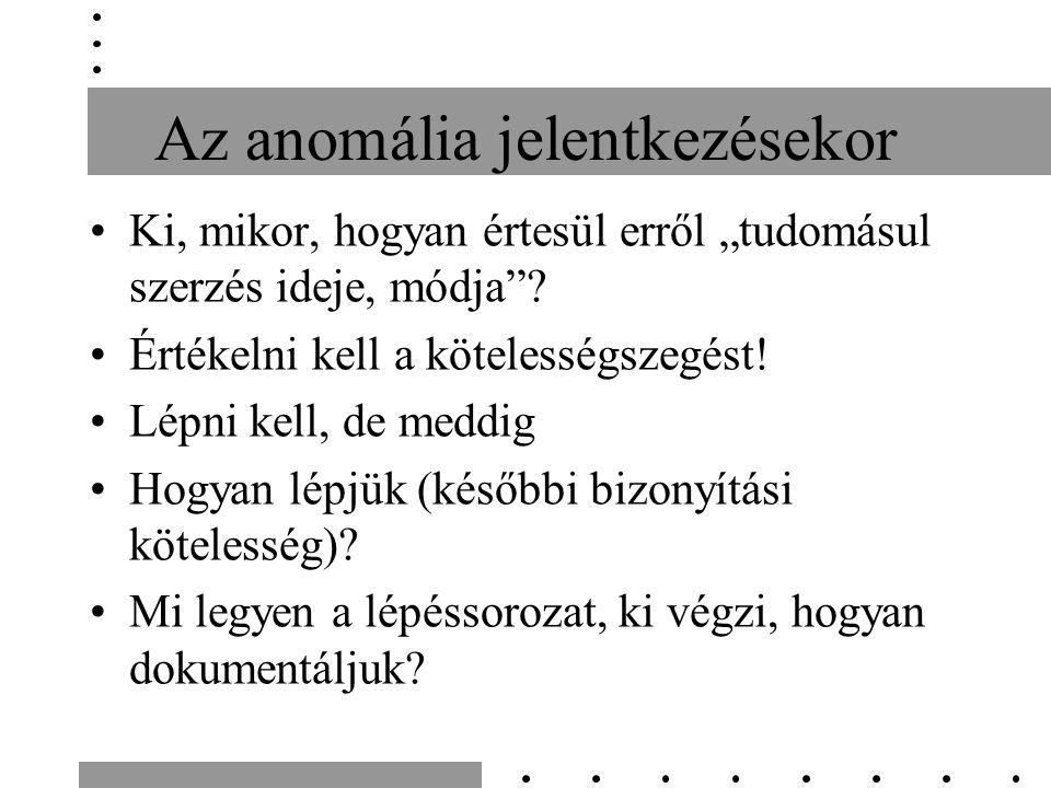 """Az anomália jelentkezésekor Ki, mikor, hogyan értesül erről """"tudomásul szerzés ideje, módja ."""