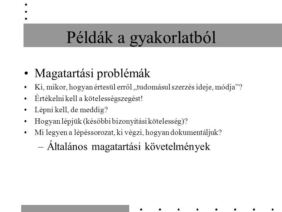 """Példák a gyakorlatból Magatartási problémák Ki, mikor, hogyan értesül erről """"tudomásul szerzés ideje, módja ."""