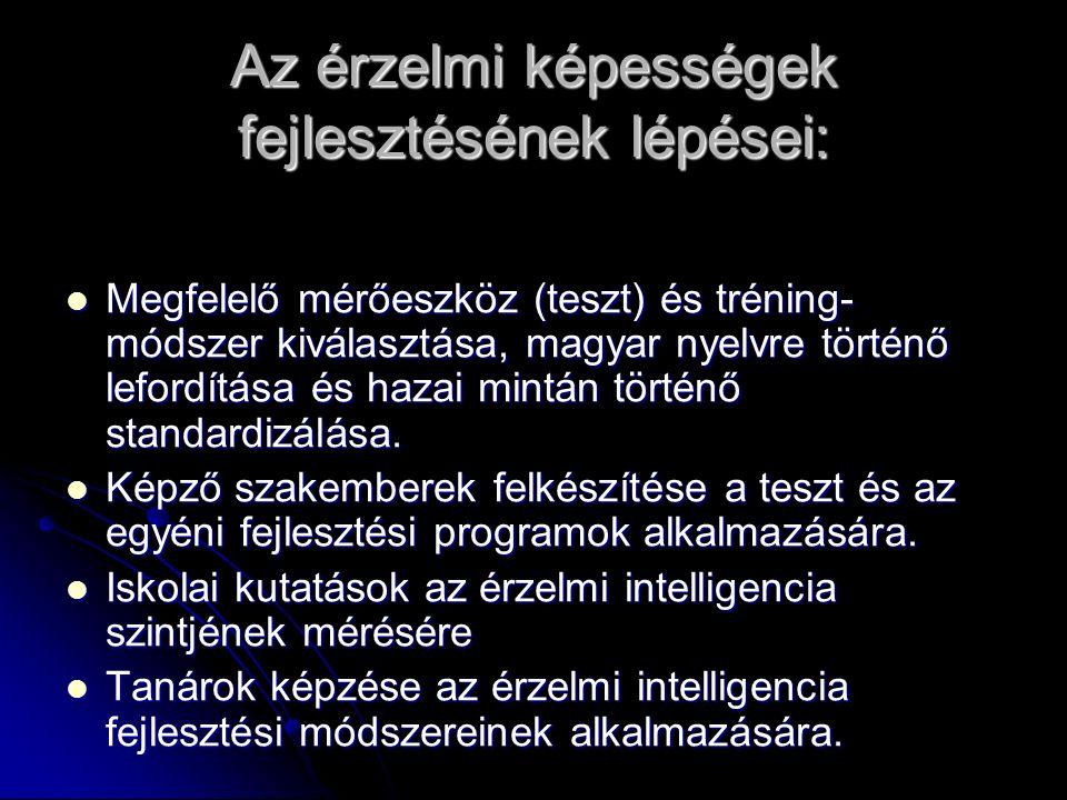 Az érzelmi képességek fejlesztésének lépései: Megfelelő mérőeszköz (teszt) és tréning- módszer kiválasztása, magyar nyelvre történő lefordítása és hazai mintán történő standardizálása.