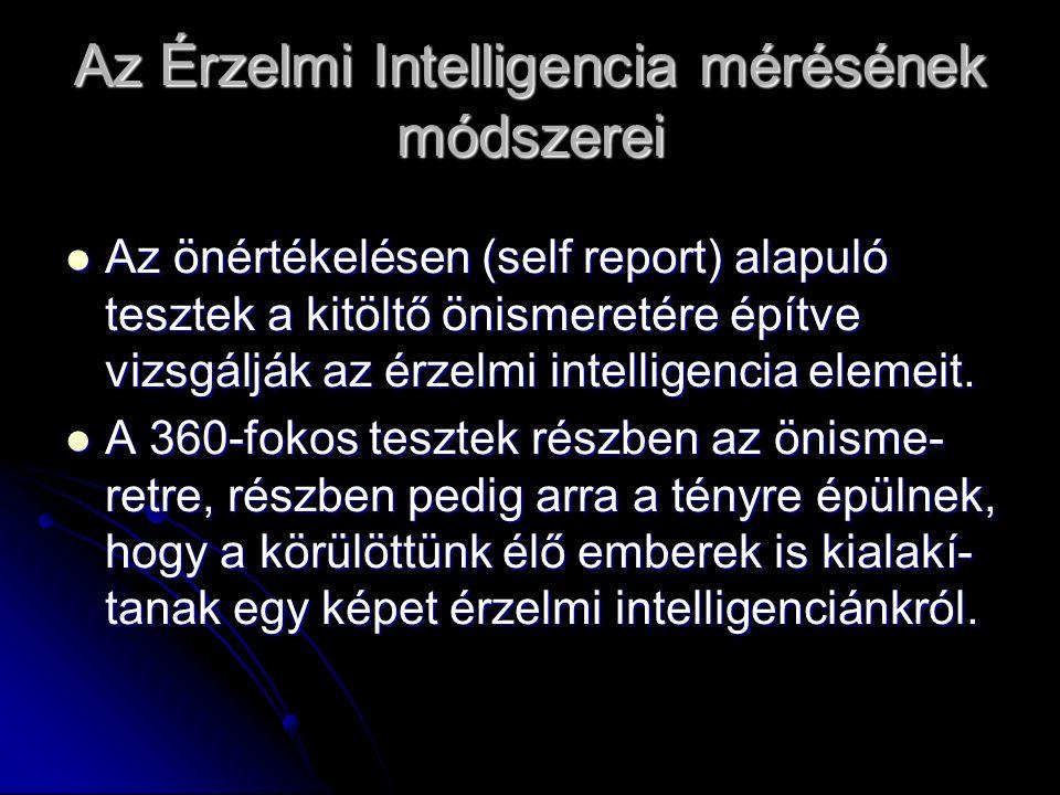 Az Érzelmi Intelligencia mérésének módszerei Az önértékelésen (self report) alapuló tesztek a kitöltő önismeretére építve vizsgálják az érzelmi intelligencia elemeit.