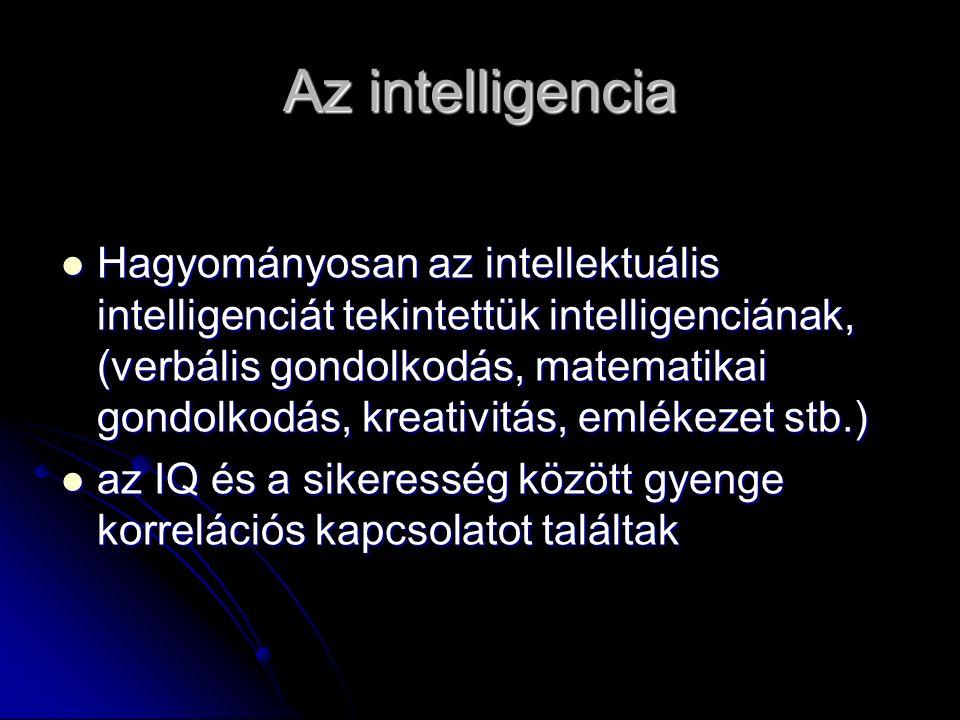 Az intelligencia Hagyományosan az intellektuális intelligenciát tekintettük intelligenciának, (verbális gondolkodás, matematikai gondolkodás, kreativitás, emlékezet stb.) Hagyományosan az intellektuális intelligenciát tekintettük intelligenciának, (verbális gondolkodás, matematikai gondolkodás, kreativitás, emlékezet stb.) az IQ és a sikeresség között gyenge korrelációs kapcsolatot találtak az IQ és a sikeresség között gyenge korrelációs kapcsolatot találtak