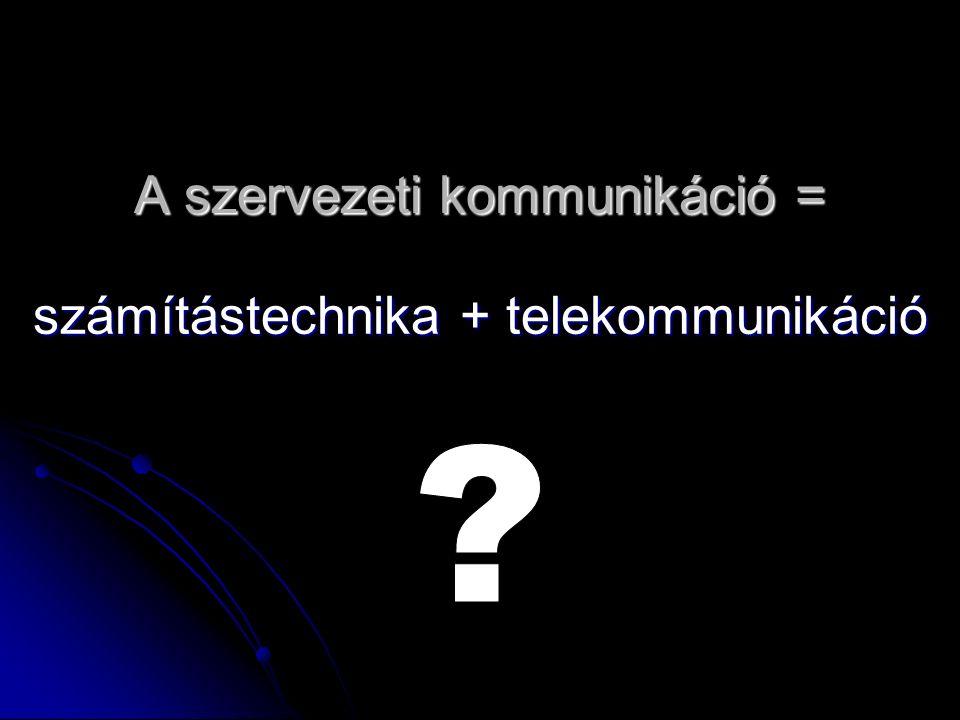 A szervezeti kommunikáció = számítástechnika + telekommunikáció