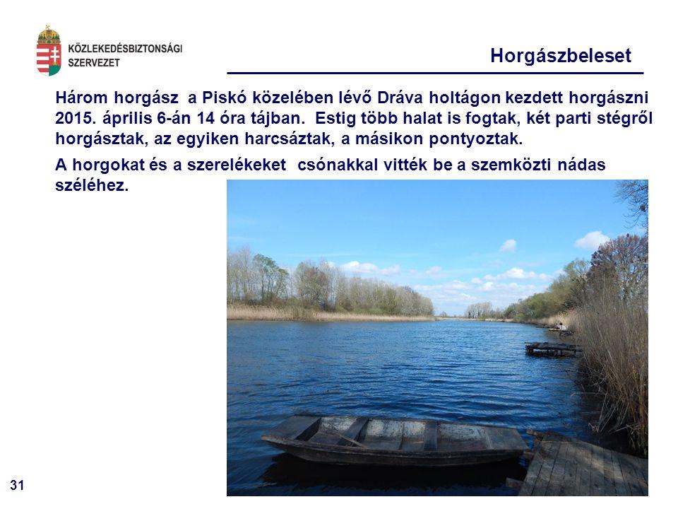 31 Horgászbeleset Három horgász a Piskó közelében lévő Dráva holtágon kezdett horgászni 2015. április 6-án 14 óra tájban. Estig több halat is fogtak,