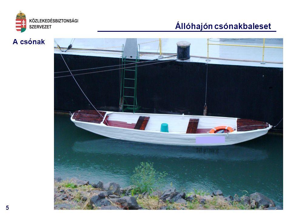 6 Állóhajón csónakbaleset A csónak leeresztő daruk