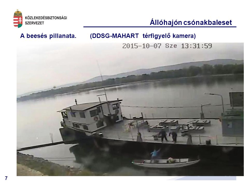 7 Állóhajón csónakbaleset A beesés pillanata. (DDSG-MAHART térfigyelő kamera)