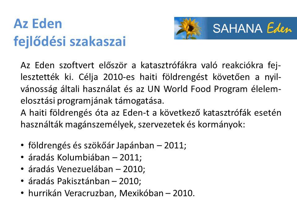 Az Eden fejlődési szakaszai Az Eden szoftvert először a katasztrófákra való reakciókra fej- lesztették ki.