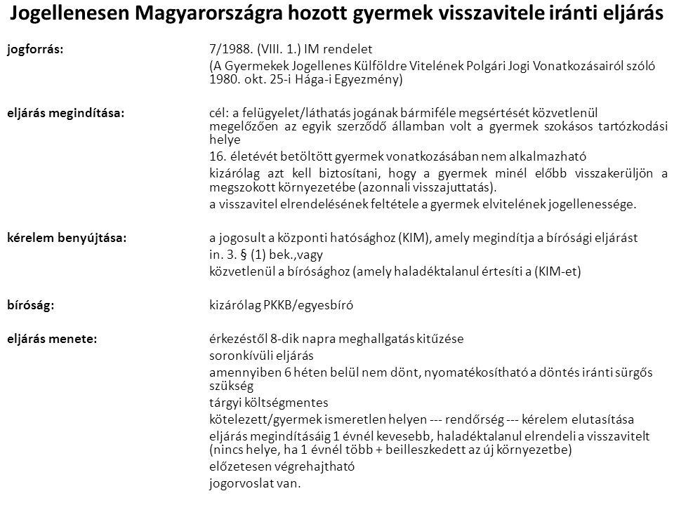 Jogellenesen Magyarországra hozott gyermek visszavitele iránti eljárás jogforrás:7/1988. (VIII. 1.) IM rendelet (A Gyermekek Jogellenes Külföldre Vite