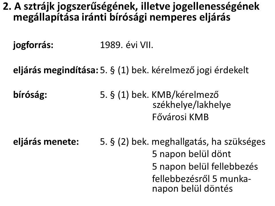 2. A sztrájk jogszerűségének, illetve jogellenességének megállapítása iránti bírósági nemperes eljárás jogforrás:1989. évi VII. eljárás megindítása:5.