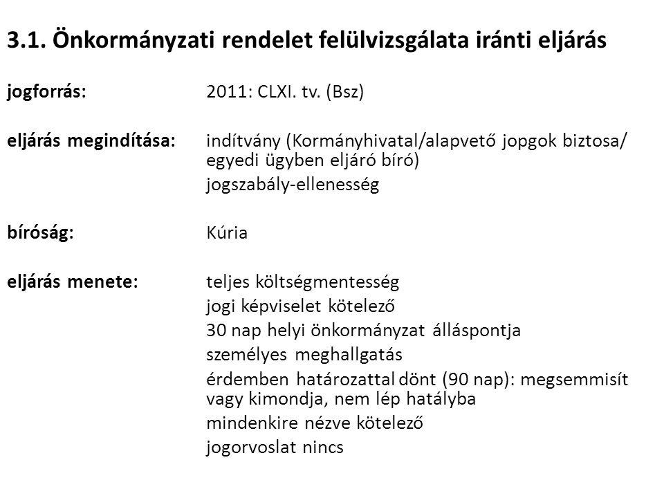3.1. Önkormányzati rendelet felülvizsgálata iránti eljárás jogforrás: 2011: CLXI. tv. (Bsz) eljárás megindítása:indítvány (Kormányhivatal/alapvető jop