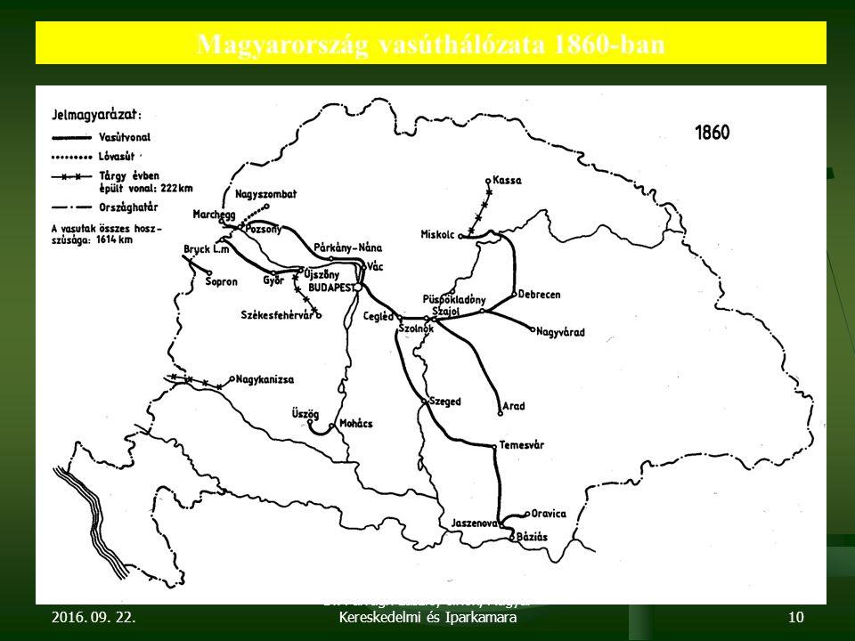 2016. 09. 22. Dr. Parragh László, elnök, Magyar Kereskedelmi és Iparkamara10 Magyarország vasúthálózata 1860-ban