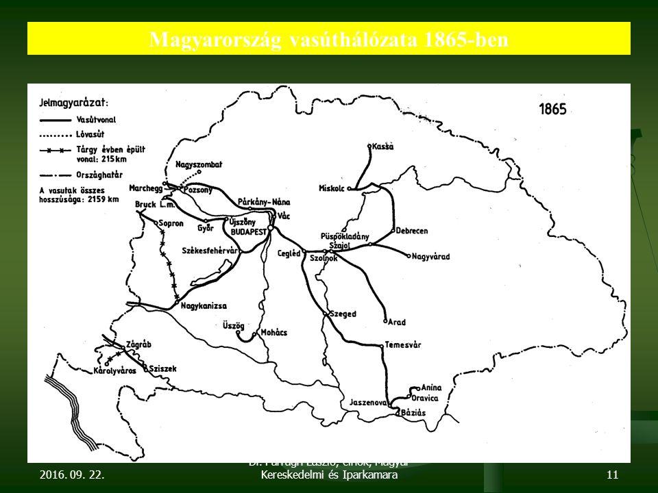 2016. 09. 22. Dr. Parragh László, elnök, Magyar Kereskedelmi és Iparkamara11 Magyarország vasúthálózata 1865-ben