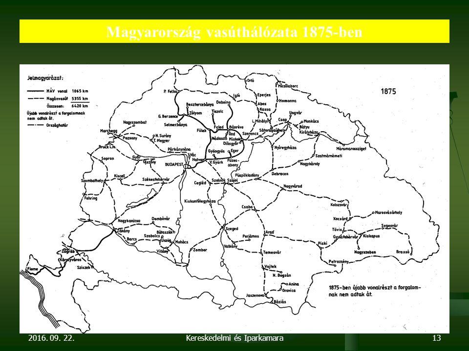2016. 09. 22. Dr. Parragh László, elnök, Magyar Kereskedelmi és Iparkamara13 Magyarország vasúthálózata 1875-ben