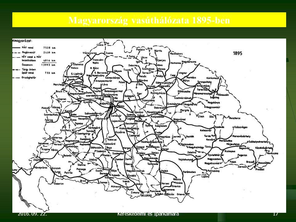 2016. 09. 22. Dr. Parragh László, elnök, Magyar Kereskedelmi és Iparkamara17 Magyarország vasúthálózata 1895-ben