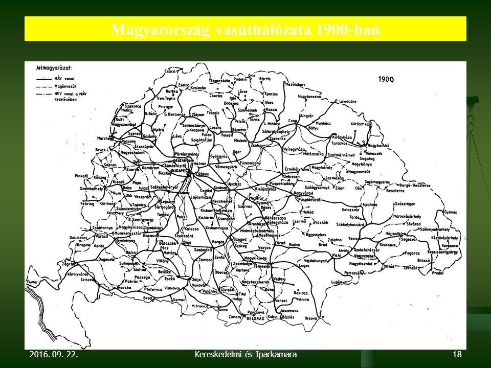 2016. 09. 22. Dr. Parragh László, elnök, Magyar Kereskedelmi és Iparkamara18 Magyarország vasúthálózata 1900-ban