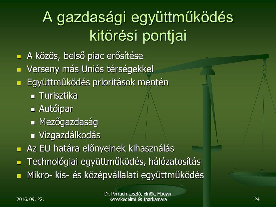2016. 09. 22. Dr. Parragh László, elnök, Magyar Kereskedelmi és Iparkamara24 A gazdasági együttműködés kitörési pontjai A közös, belső piac erősítése
