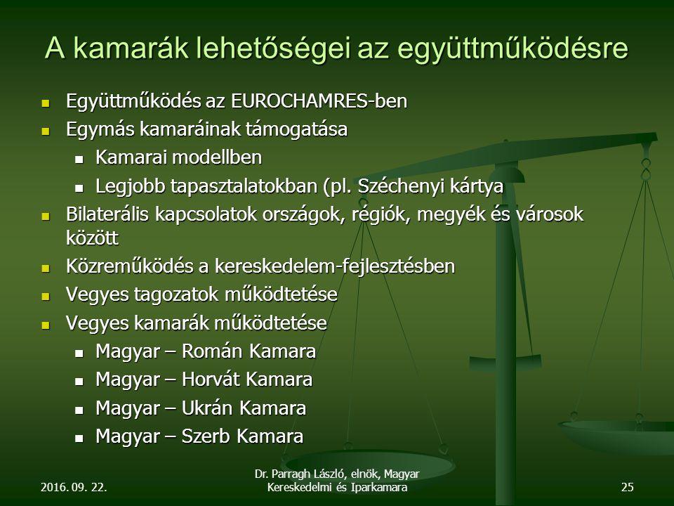 2016. 09. 22. Dr. Parragh László, elnök, Magyar Kereskedelmi és Iparkamara25 A kamarák lehetőségei az együttműködésre Együttműködés az EUROCHAMRES-ben