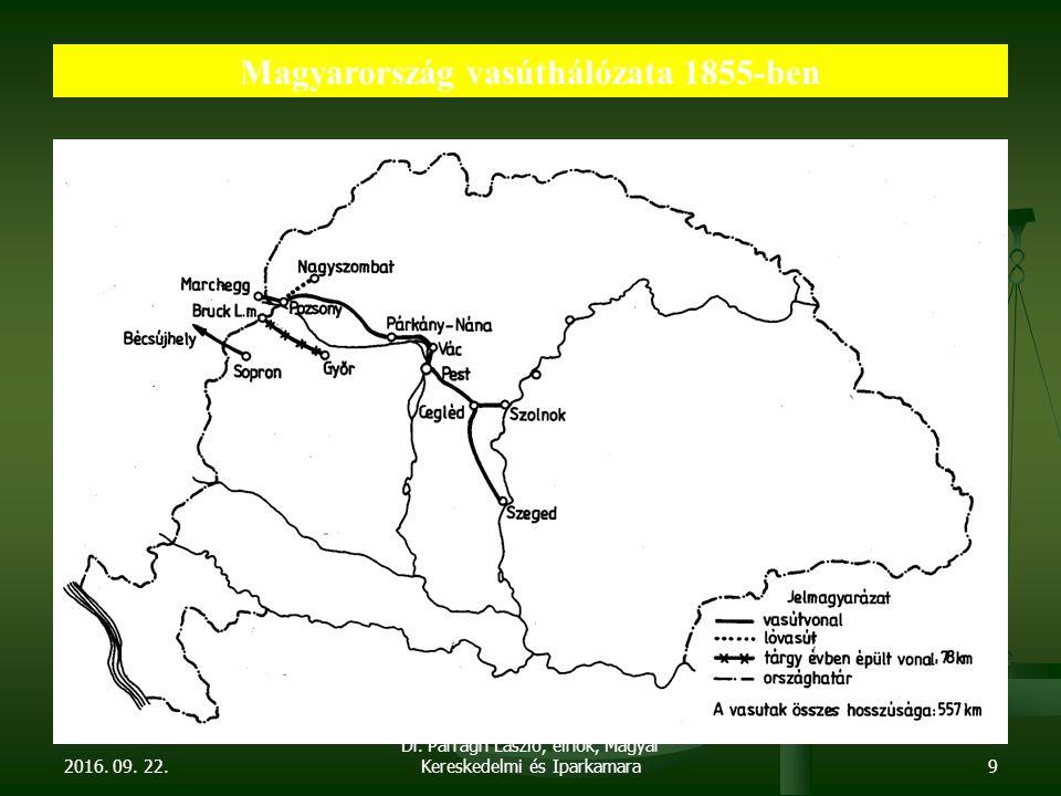 2016. 09. 22. Dr. Parragh László, elnök, Magyar Kereskedelmi és Iparkamara9 Magyarország vasúthálózata 1855-ben