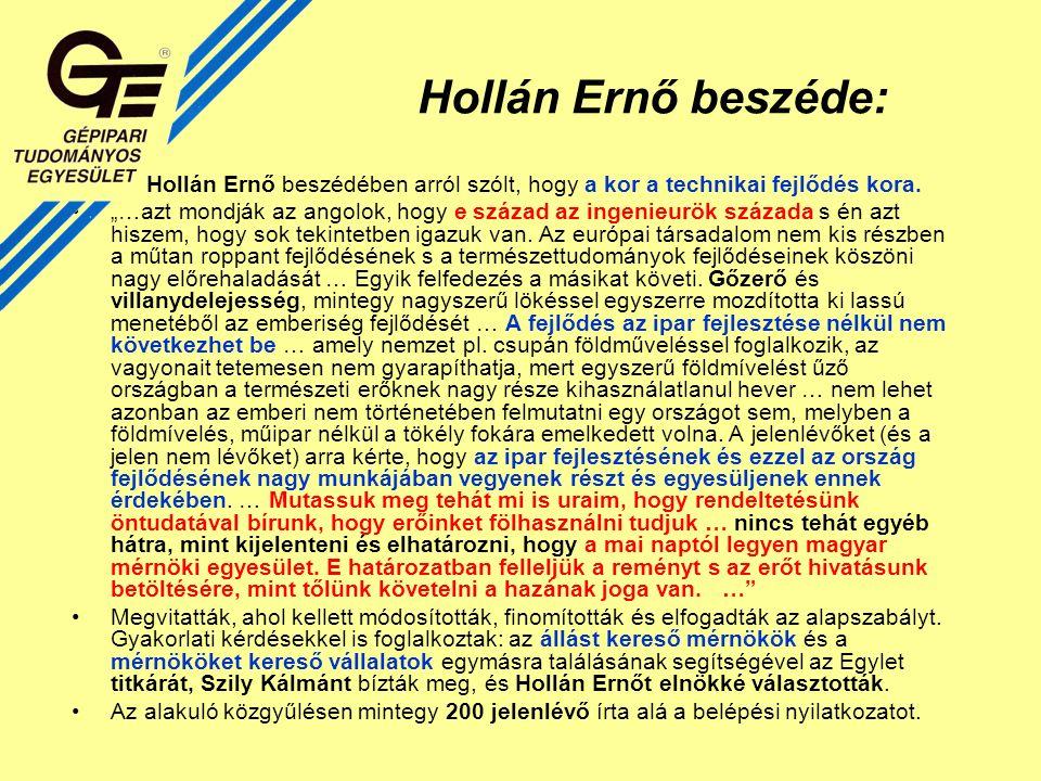 Hollán Ernő beszéde: Hollán Ernő beszédében arról szólt, hogy a kor a technikai fejlődés kora.