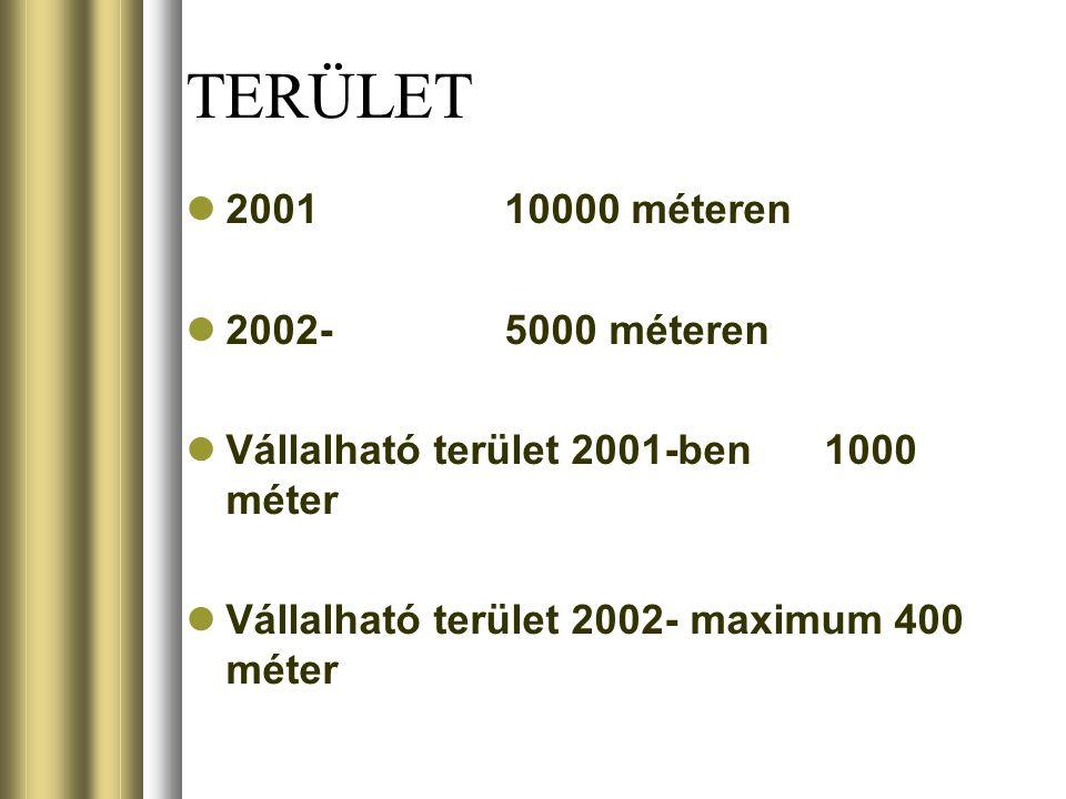 TERÜLET 200110000 méteren 2002-5000 méteren Vállalható terület 2001-ben1000 méter Vállalható terület 2002- maximum 400 méter