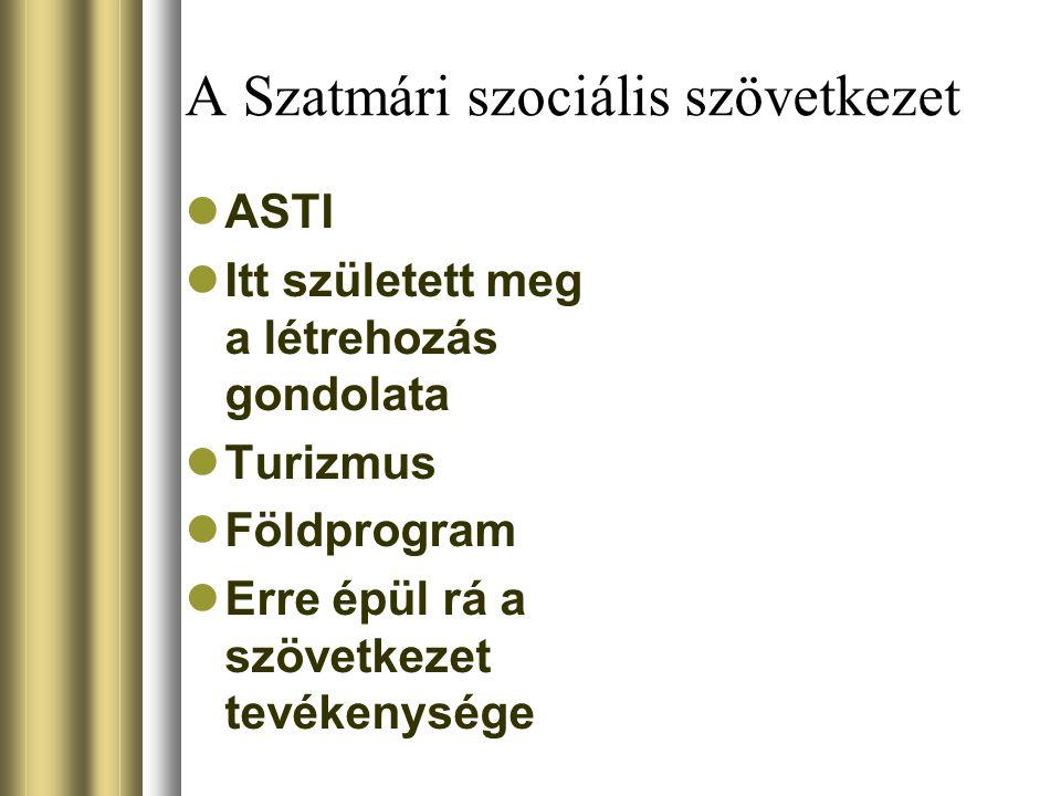 A Szatmári szociális szövetkezet ASTI Itt született meg a létrehozás gondolata Turizmus Földprogram Erre épül rá a szövetkezet tevékenysége
