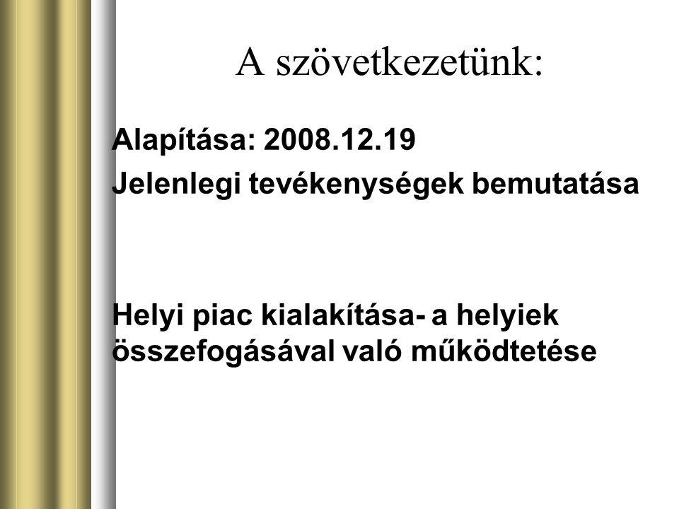 A szövetkezetünk: Alapítása: 2008.12.19 Jelenlegi tevékenységek bemutatása Helyi piac kialakítása- a helyiek összefogásával való működtetése