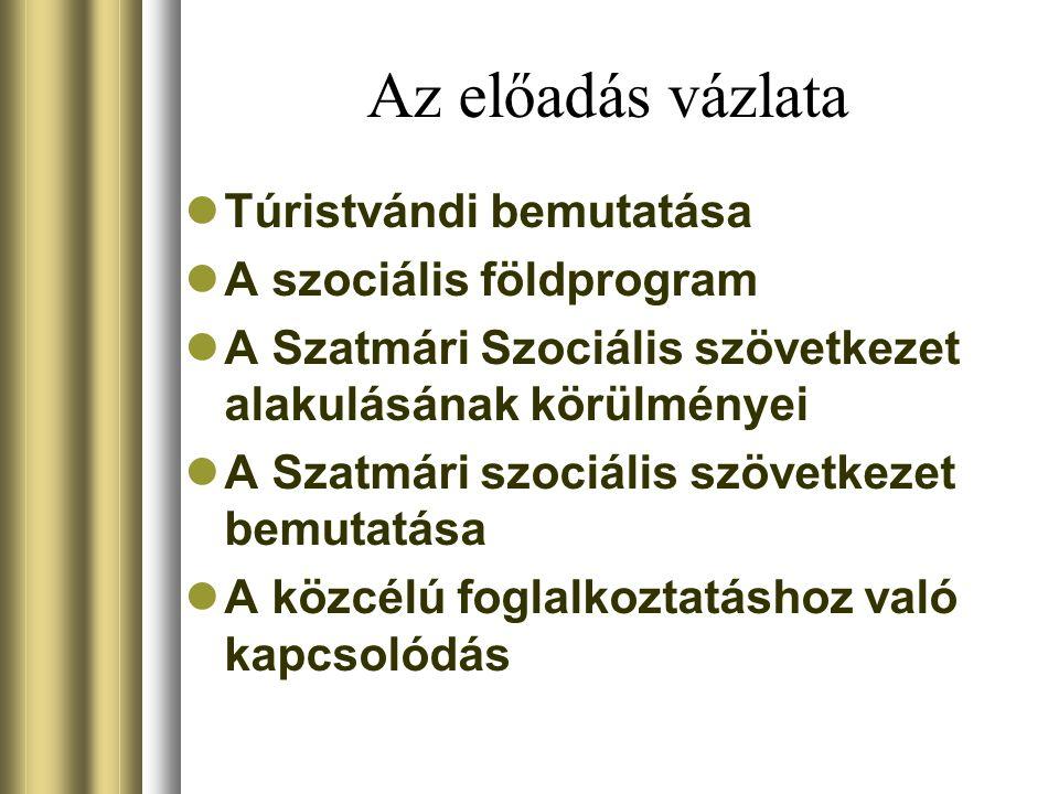 Az előadás vázlata Túristvándi bemutatása A szociális földprogram A Szatmári Szociális szövetkezet alakulásának körülményei A Szatmári szociális szövetkezet bemutatása A közcélú foglalkoztatáshoz való kapcsolódás