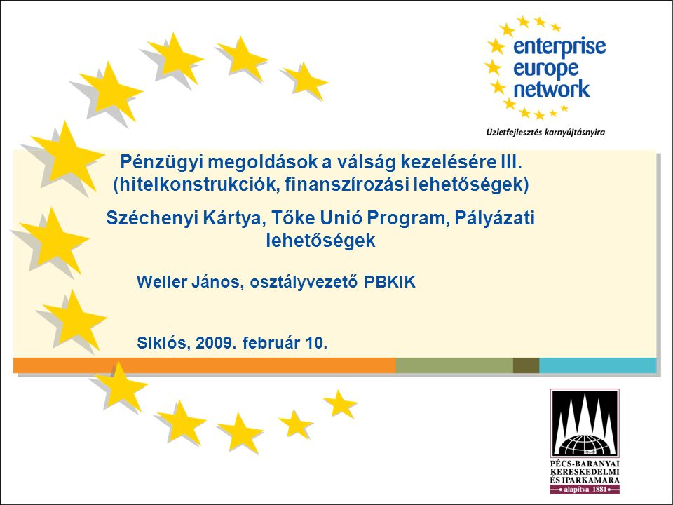 Pénzügyi megoldások a válság kezelésére III. (hitelkonstrukciók, finanszírozási lehetőségek) Széchenyi Kártya, Tőke Unió Program, Pályázati lehetősége