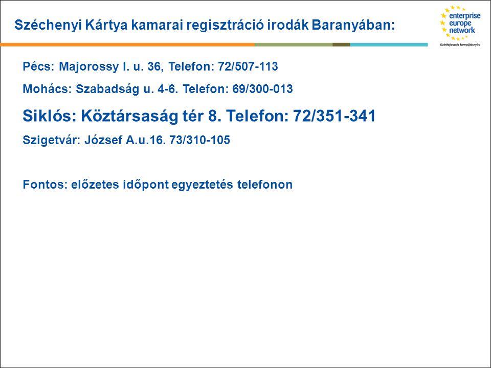 Széchenyi Kártya kamarai regisztráció irodák Baranyában: Pécs: Majorossy I. u. 36, Telefon: 72/507-113 Mohács: Szabadság u. 4-6. Telefon: 69/300-013 S