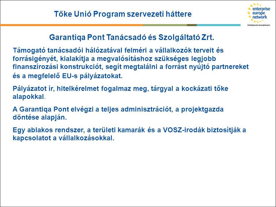 Tőke Unió Program szervezeti háttere Garantiqa Pont Tanácsadó és Szolgáltató Zrt. Támogató tanácsadói hálózatával felméri a vállalkozók terveit és for