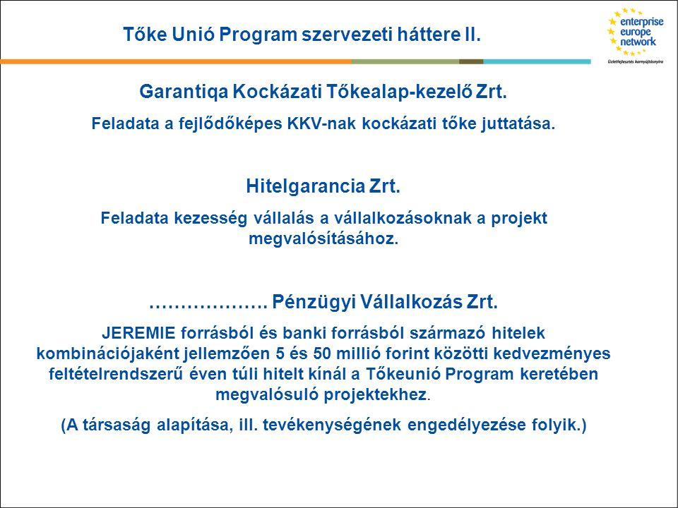 Tőke Unió Program szervezeti háttere II. Garantiqa Kockázati Tőkealap-kezelő Zrt. Feladata a fejlődőképes KKV-nak kockázati tőke juttatása. Hitelgaran