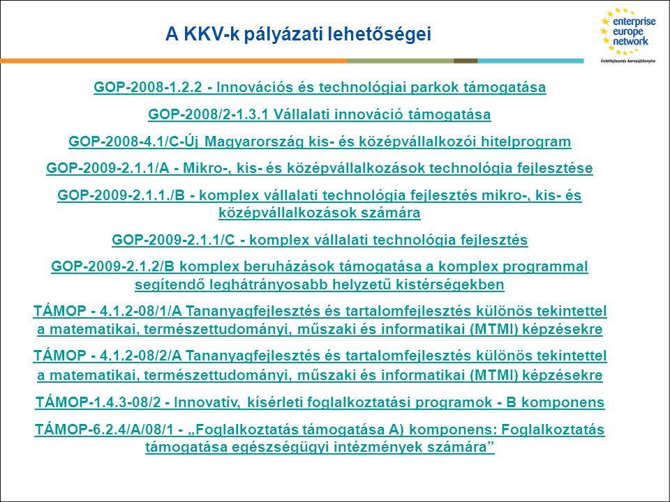 A KKV-k pályázati lehetőségei GOP-2008-1.2.2 - Innovációs és technológiai parkok támogatása GOP-2008/2-1.3.1 Vállalati innováció támogatása GOP-2008-4