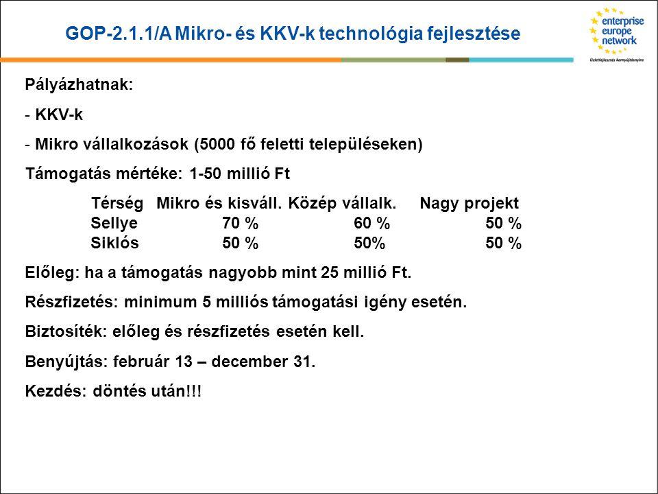 GOP-2.1.1/A Mikro- és KKV-k technológia fejlesztése Pályázhatnak: - KKV-k - Mikro vállalkozások (5000 fő feletti településeken) Támogatás mértéke: 1-5