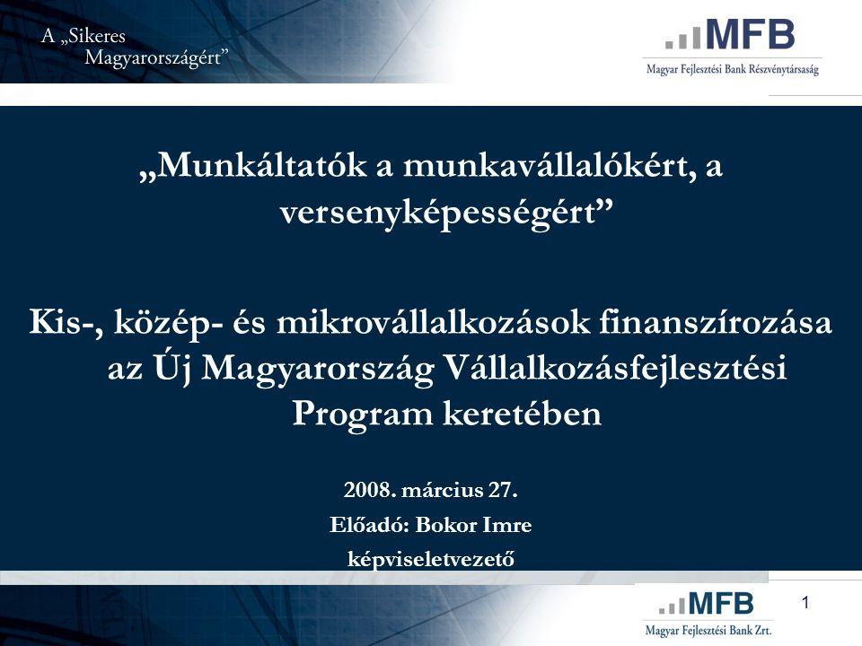 """1 """"Munkáltatók a munkavállalókért, a versenyképességért Kis-, közép- és mikrovállalkozások finanszírozása az Új Magyarország Vállalkozásfejlesztési Program keretében 2008."""