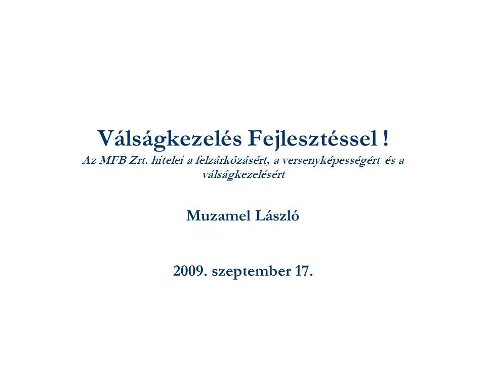 Válságkezelés Fejlesztéssel ! Az MFB Zrt. hitelei a felzárkózásért, a versenyképességért és a válságkezelésért Muzamel László 2009. szeptember 17.