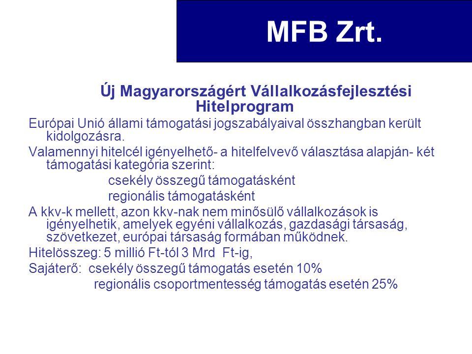 Új Magyarországért Vállalkozásfejlesztési Hitelprogram Európai Unió állami támogatási jogszabályaival összhangban került kidolgozásra. Valamennyi hite